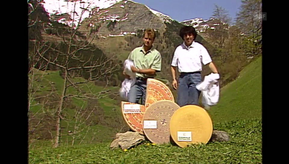 Vreni Schneider und Franz Heinzer enthüllen Käse (Tagesschau vom 14.05.1992)