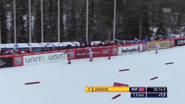 Video «Ski nordisch: Langlauf Frauen, 10 km klassisch, Patzer von Weng» abspielen