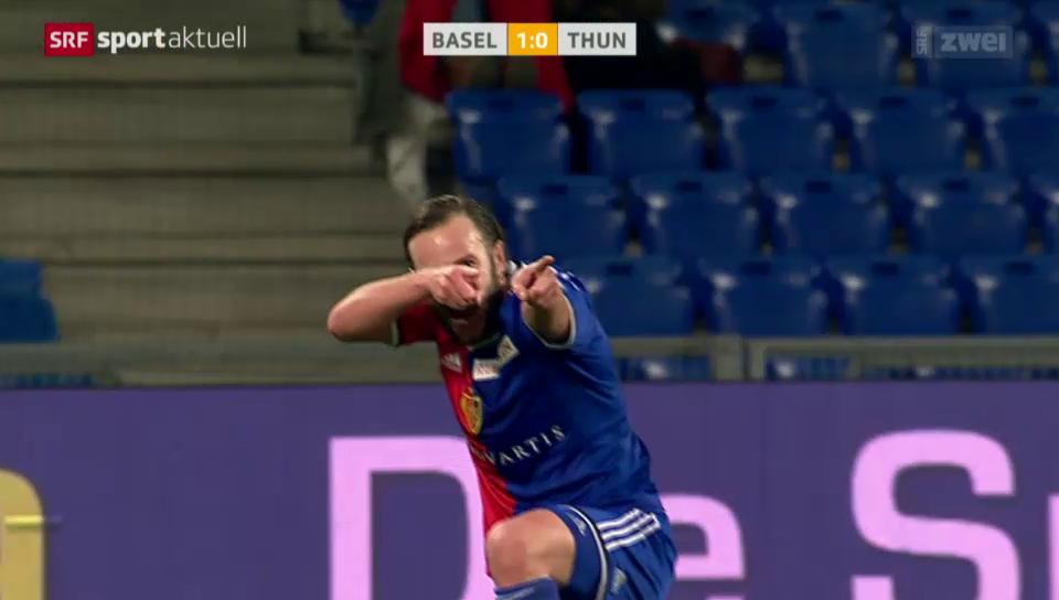 Fussball: Super League, Basel-Thun, Tor Gashi