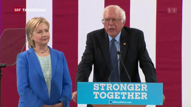 Video «Sanders und Clinton vereint» abspielen