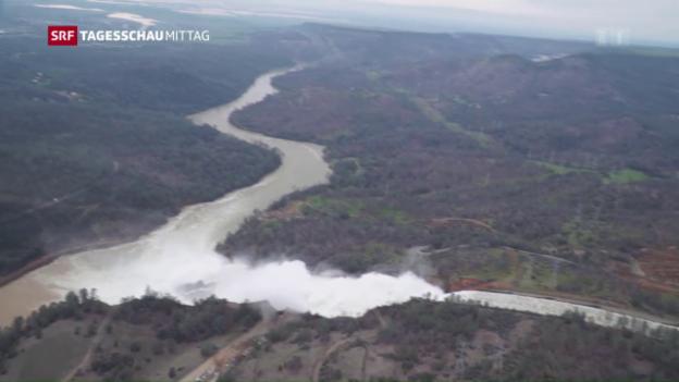 Video «Oroville-Stausee: Gefahr noch nicht gebannt» abspielen