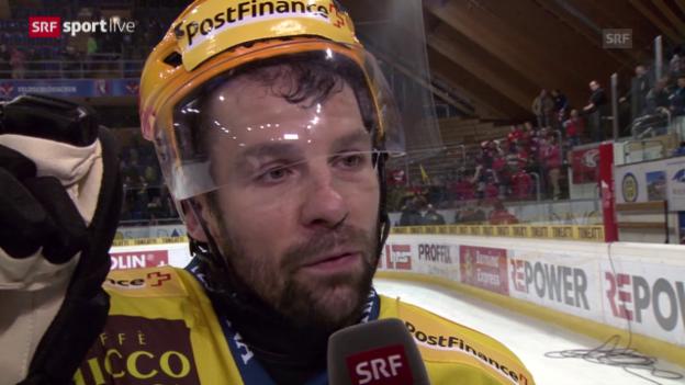 Video «Eishockey: Playoffs, 4. Halbfinal, HC Davos – SC Bern, Interview Martin Plüss» abspielen