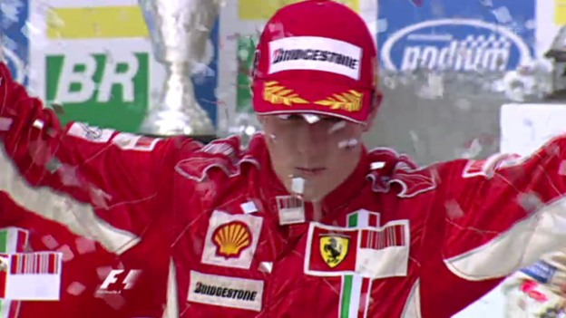 Video «GP Brasilien 2007: Räikkönen wird Weltmeister» abspielen