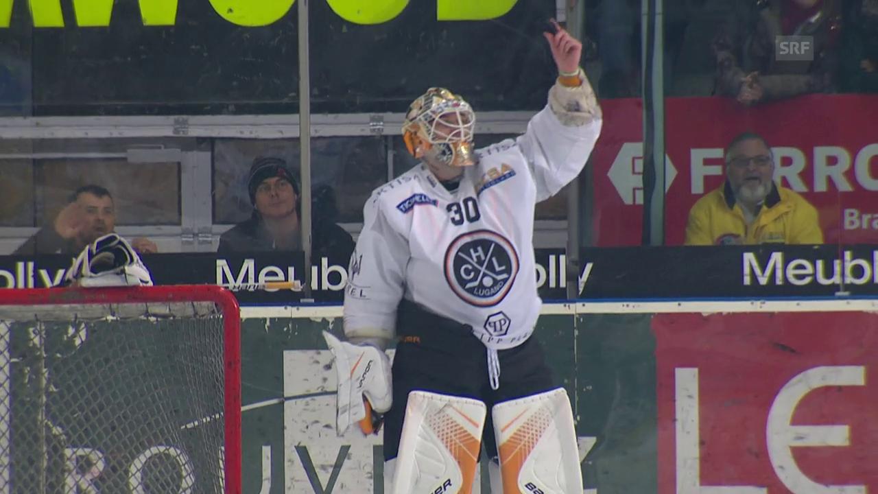 Lugano-Goalie Merzlikins lässt Puck «verschwinden»