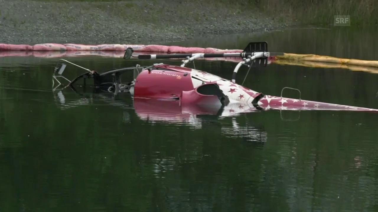 Helikopter der Air Zermatt stürzt in Baggersee