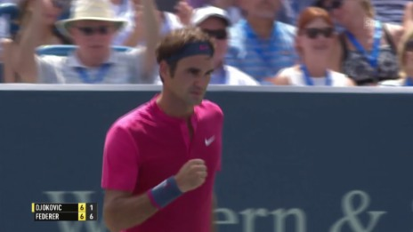 Video «Tennis: ATP 1000 Cincinnati, Final Federer - Djokovic, Federer mit dem nahezu perfekten Tiebreak» abspielen