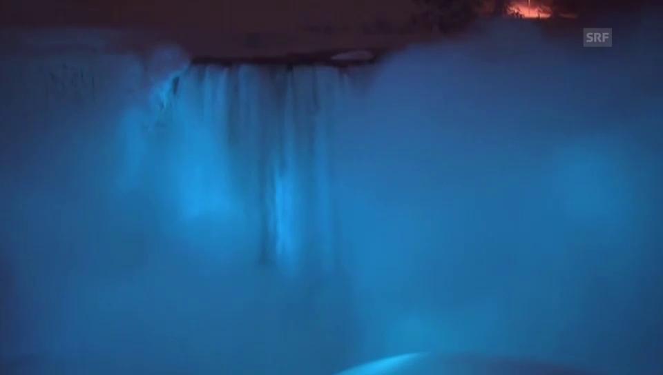 Gefrorene Niagarafälle werden zum Farbenspektakel