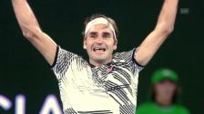 Link öffnet eine Lightbox. Video Rückblick auf Federers herausragende Saison 2017 abspielen