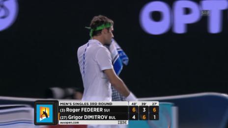 Video «Federer verwertet den Satzball im 3. Durchgang» abspielen