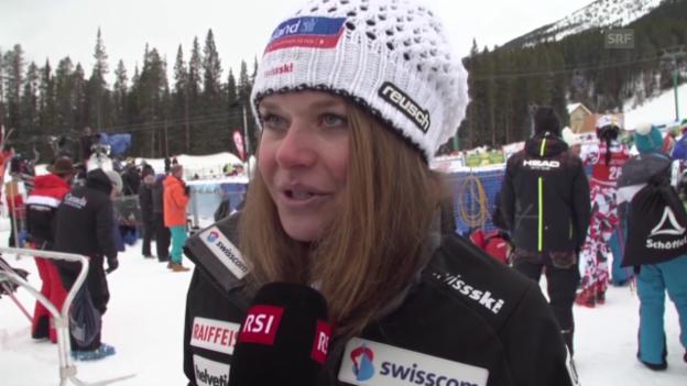 Video «Ski alpin: Corinne Suter nach der Abfahrt in Lake Louise im Interview» abspielen