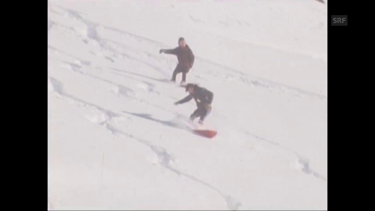 Snowboard-Anfänge mit Lenkschnur (1982)