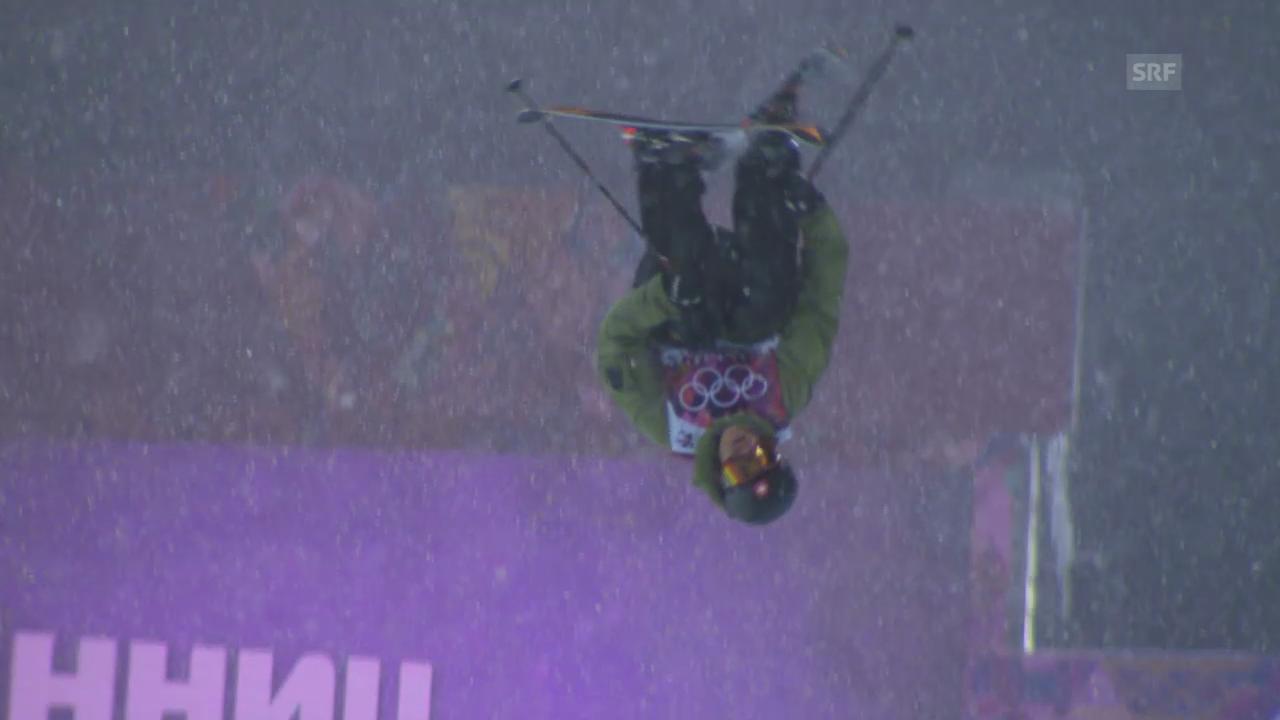 Ski Freestyle: Qualifikation Halfpipe, der 2. Run von Yannic Lerjen (sotschi direkt, 18.02.2014)