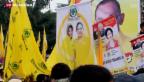 Video «Opposition in Indonesien steuert auf Sieg bei Parlamentswahl zu» abspielen