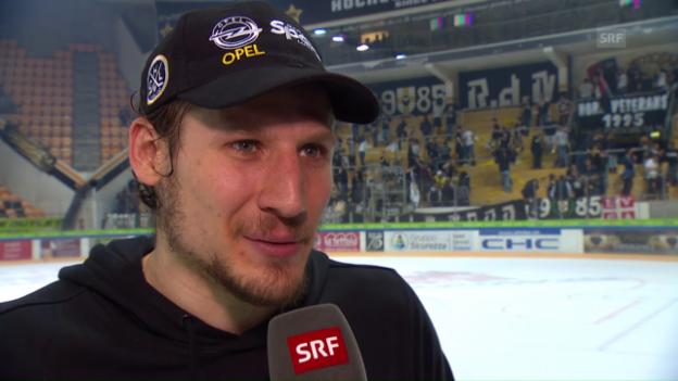 Video «Lugano-Stürmer Damien Brunner im Interview nach dem Sieg über den SCB» abspielen