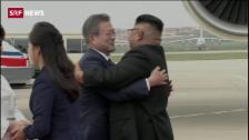 Link öffnet eine Lightbox. Video Nord- und Südkorea reichen sich die Hand abspielen