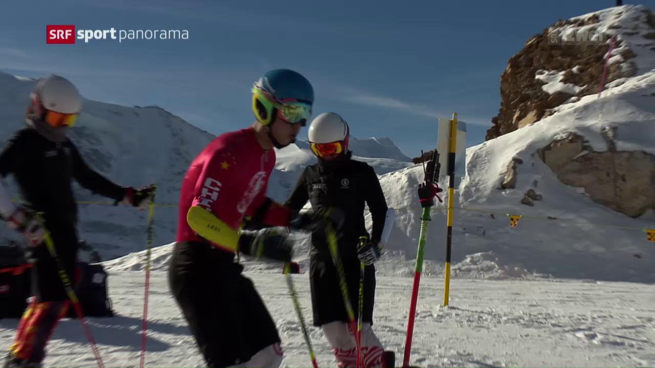 Chinesische Skifahrer trainieren auf der Diavolezza