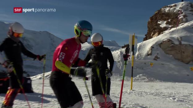 Video «Chinesische Skifahrer trainieren auf der Diavolezza» abspielen