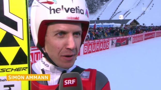 Video «Skispringen: Interview mit Simon Ammann nach dem 1. Durchgang» abspielen