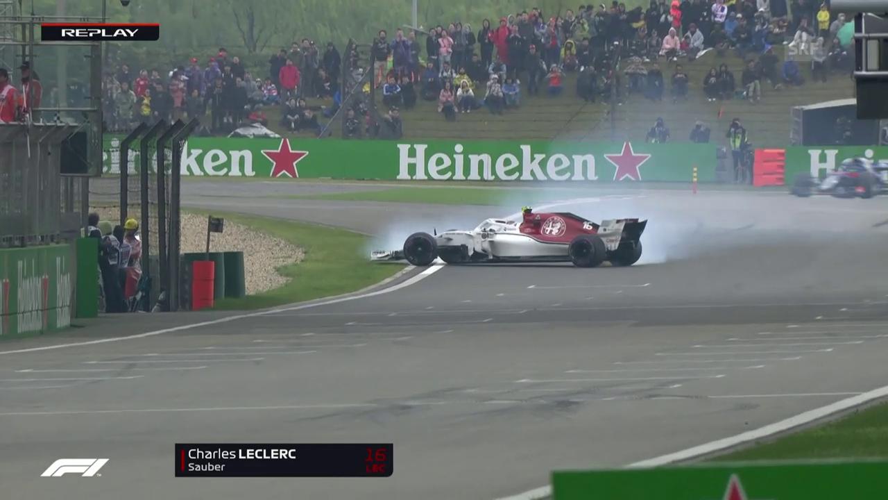 Leclerc verhindert einen Crash knapp