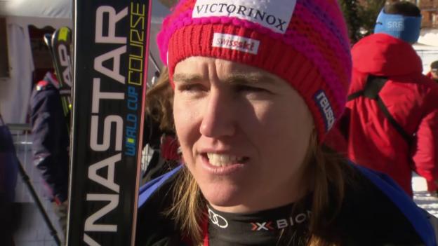 Video «Ski: Abfahrt Val d'Isère, Interview Fabienne Suter» abspielen