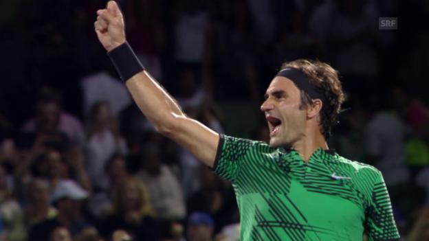 Video «Roger Federer ringt Nick Kyrgios nieder» abspielen