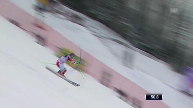 Video «Ski: Slalom Zagreb, 1. Lauf Hirscher» abspielen