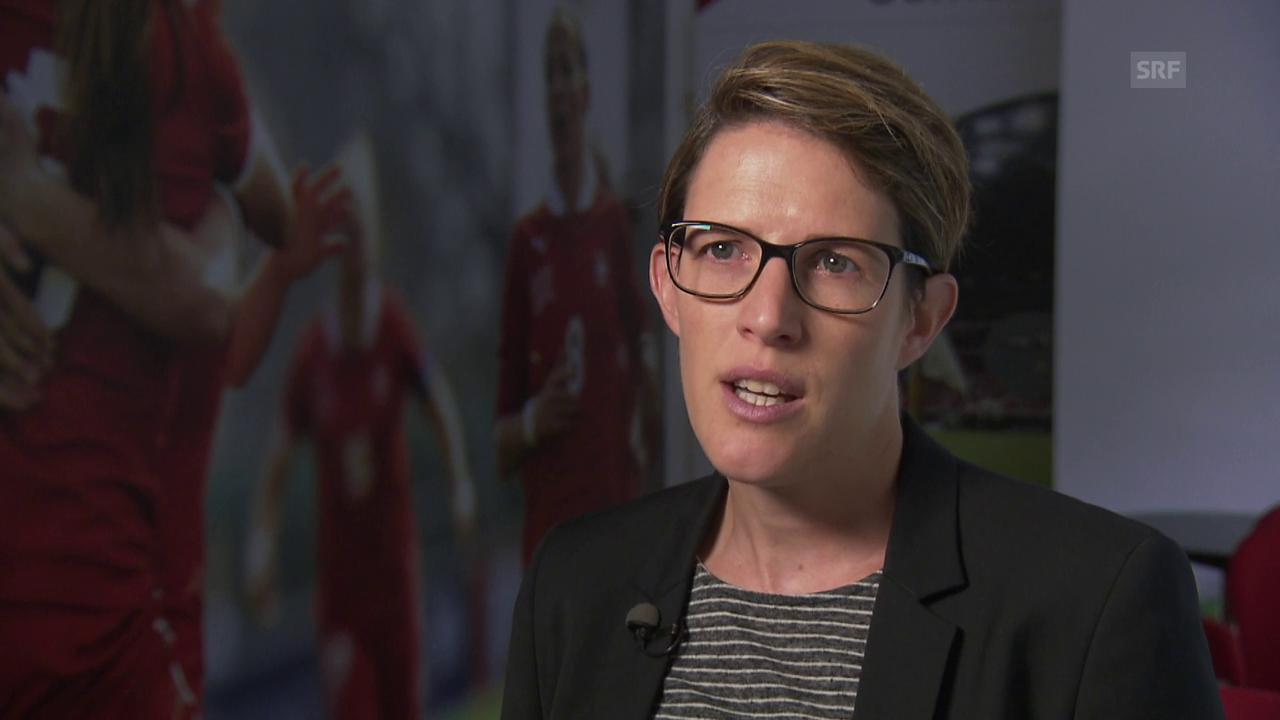 Schild: «400 Stellenprozent, die sich voll um den Frauenfussball kümmern»