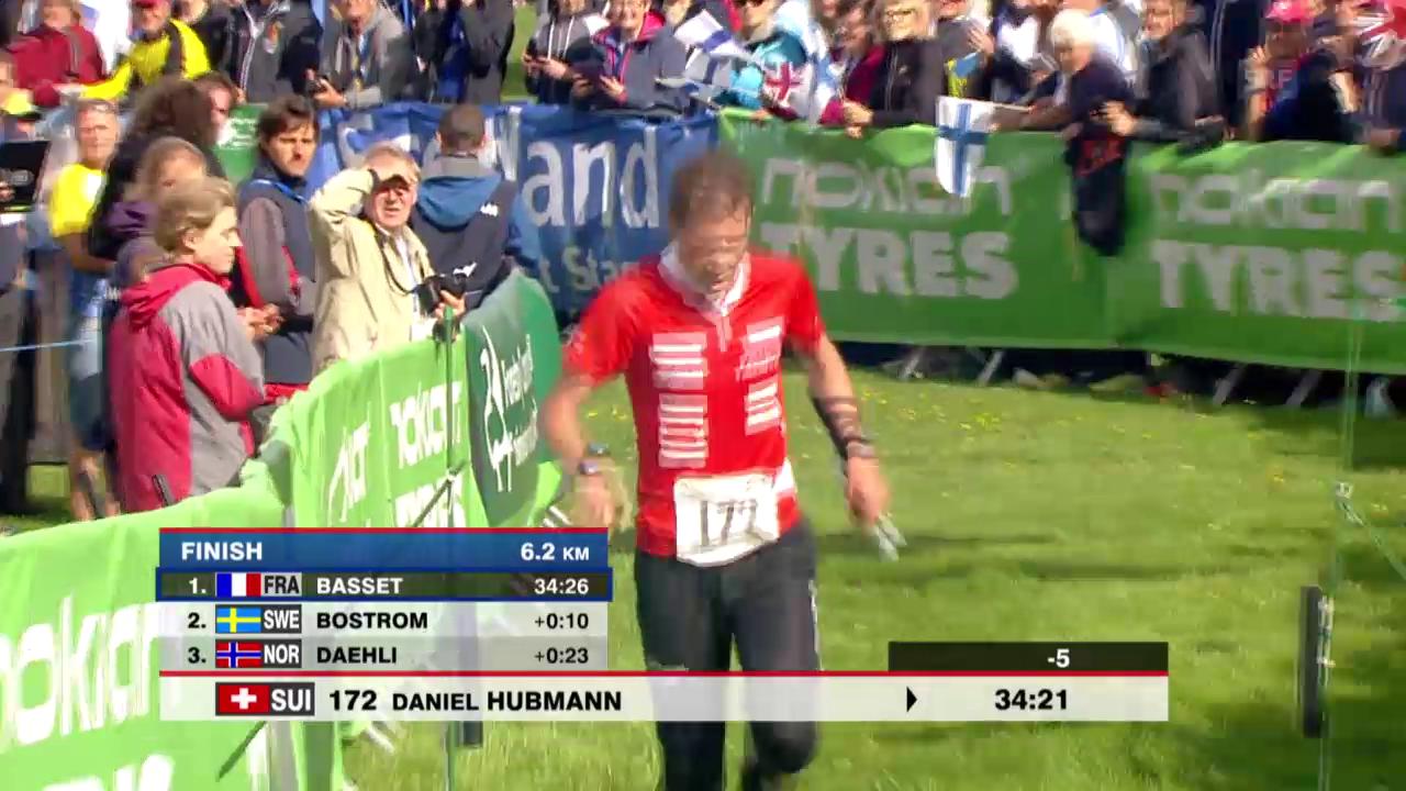 OL: WM, Zieleinlauf von Daniel Hubmann über die Mitteldistanz