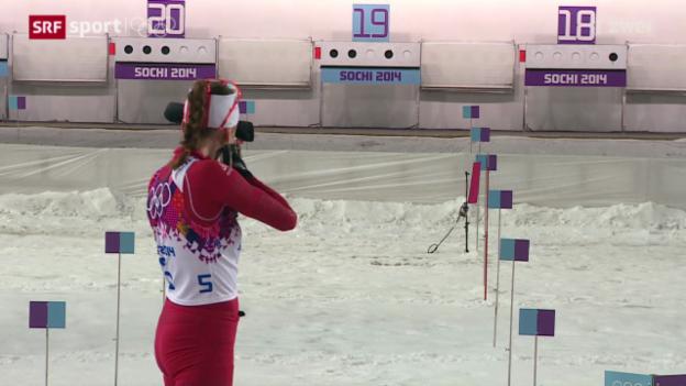 Video «Biathlon: Der Massenstart der Frauen über 12,5 km» abspielen