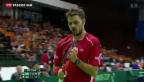 Video «Schweiz führt im Davis-Cup gegen Serbien» abspielen