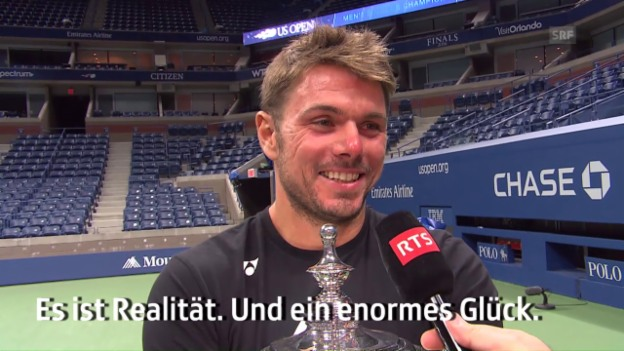 Video «Ein gelöster Wawrinka nach dem US-Open-Triumph» abspielen