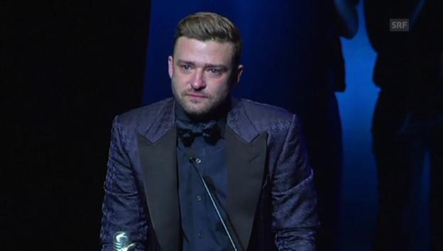 Video «Timberlakes emotionale Ansprache» abspielen