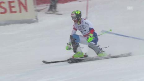 Video «Ski-WM Vail/Beaver Creek, SL Männer, 2. Lauf Justin Murisier» abspielen