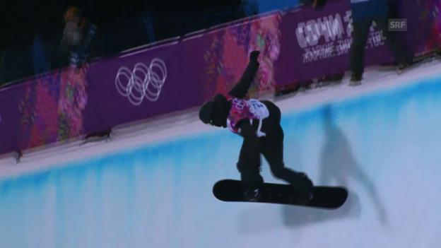 Video «Snowboard Halfpipe: 1. Final-Run von Iouri Podladtchikov (sotschi direkt, 11.02.2014)» abspielen