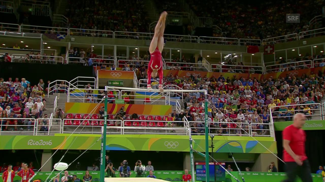 Giulia Steingruber turnt solide am Stufenbarren