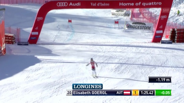 Video «Ski alpin: Super-G in Val d'Isère, Elisabeth Görgl» abspielen