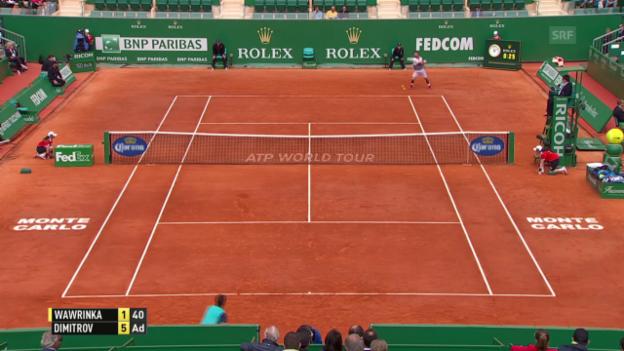 Video «Tennis: ATP-1000-Turnier in Monte Carlo, Achtelfinal Wawrinka - Dimitrov» abspielen