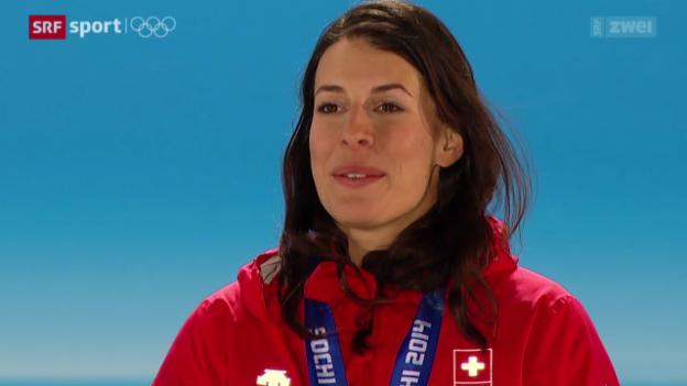 Video «Ski: Die Siegerehrung der Frauen-Abfahrt» abspielen