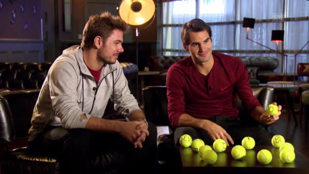 Video «Tennis: Federer und Wawrinka im Gespräch über die Olympischen Spiele» abspielen