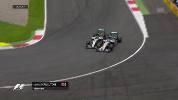 Video «Teaminterner Zweikampf zwischen Hamilton und Rosberg» abspielen