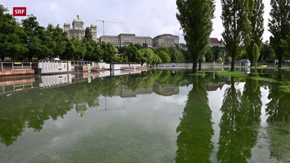 Das überschwemmte Marzili-Bad in Bern