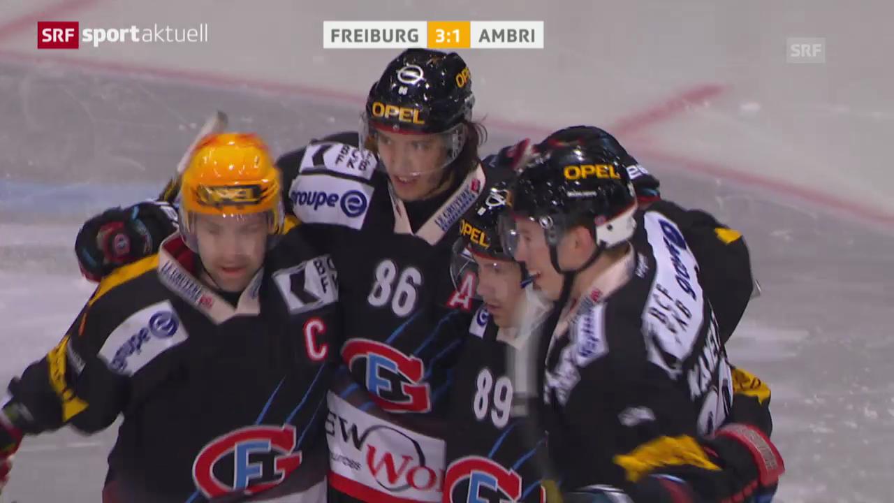 Eishockey: Playoff-Viertelfinals, Spiel 3, Freiburg-Ambri («sportaktuell», 15.3.14)