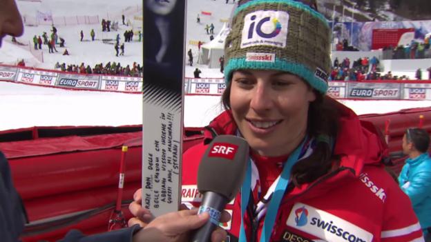 Video «Ski: Weltcupfinale Méribel, Riesenslalom Frauen, Interview Dominique Gisin 2» abspielen
