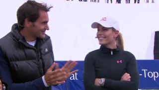 Video «Roger Federer und Lindsey Vonn: spannendes Tennis-Duell» abspielen