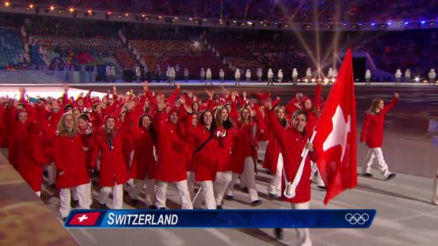 Video «Sotschi: Eröffnungsfeier, Einmarsch Schweiz («Sotschi direkt», 07.02.14)» abspielen