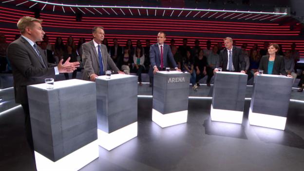 Video ««Arena» zu Wahlen 15: Parteipräsidenten kämpfen um ihre Stimmen» abspielen