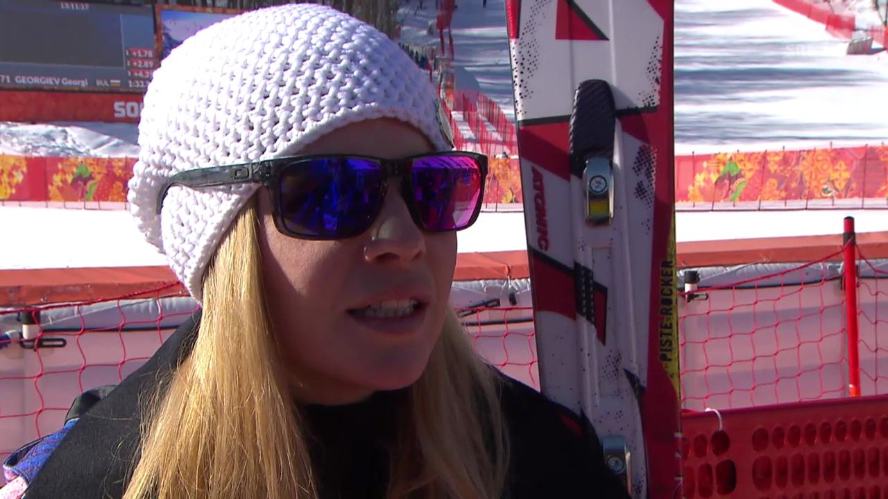 Sotschi, Ski alpin: 1. Abfahrtstraining der Frauen, Interview mit Tina Weirather