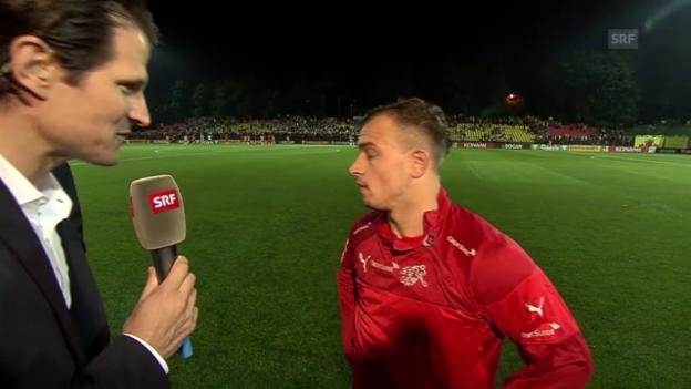 Video «Fussball: EURO-Qualifikation 2016, Litauen - Schweiz, Interview Xherdan Shaqiri» abspielen