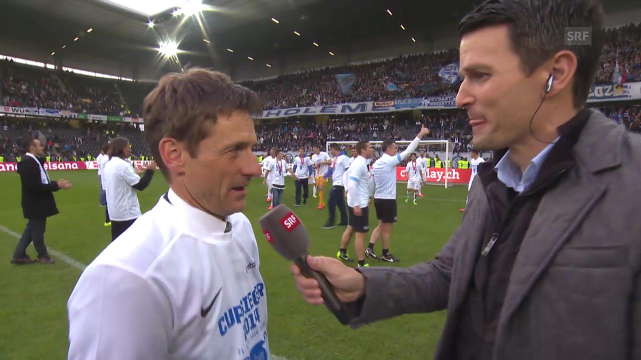 FCZ-Trainer Urs Meier nach dem Cupsieg
