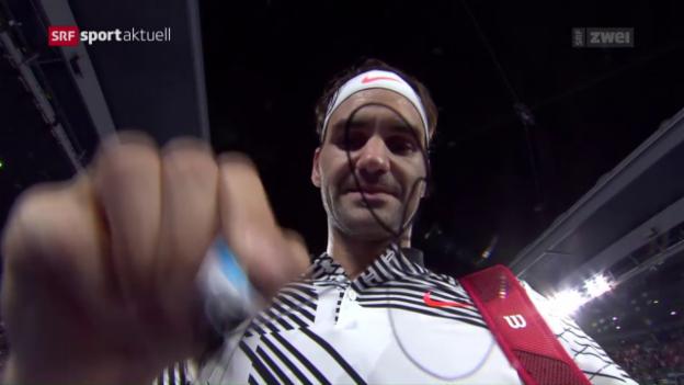 Video «Roger Federer startet mit Viersatzsieg in die Australian Open» abspielen